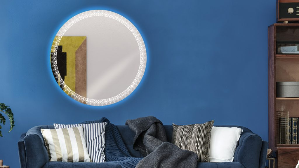 Round Etch Mirrors with backlit installed in blue wall