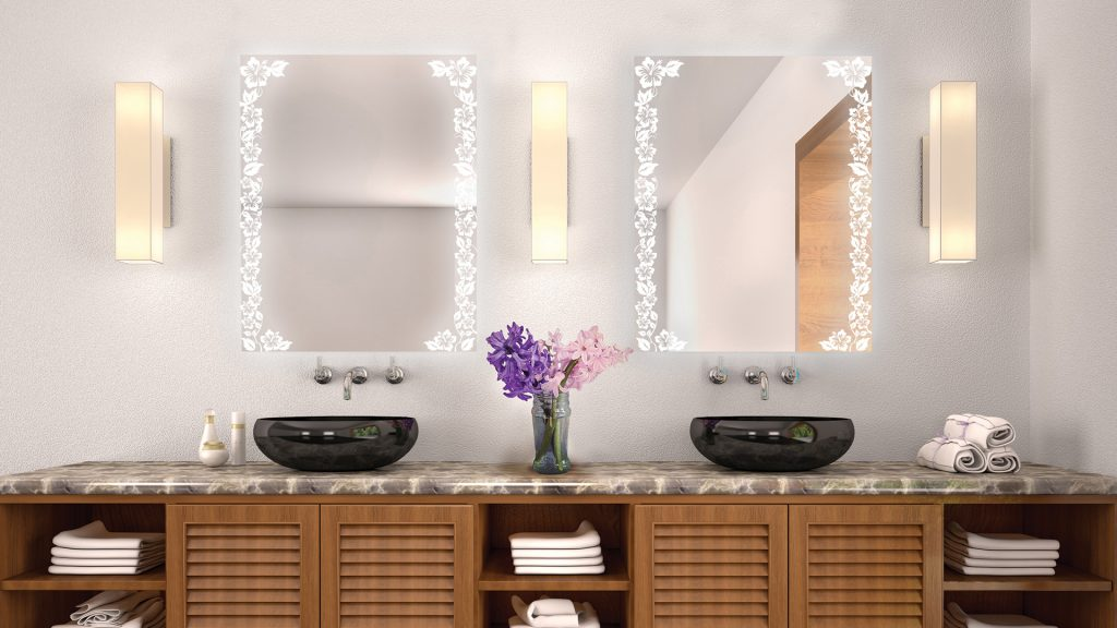 Etch Mirrors in nature pattern installed in a bathroom