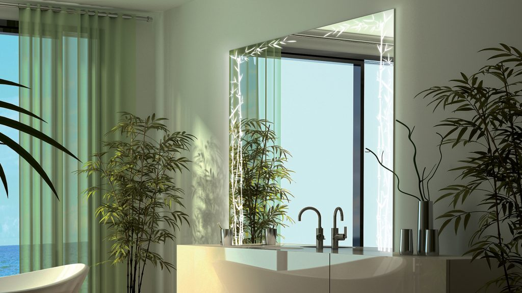 Nature Etch Single Lighted Mirror beside indoor plants in a relaxing bathroom
