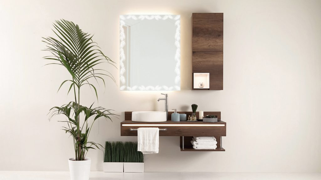 Etch Mirrors installed in a nature inspired bathroom vanity
