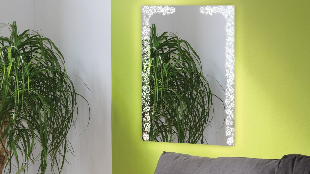 Etch Mirrors by Grand Mirrors in old english pattern installed in a wall