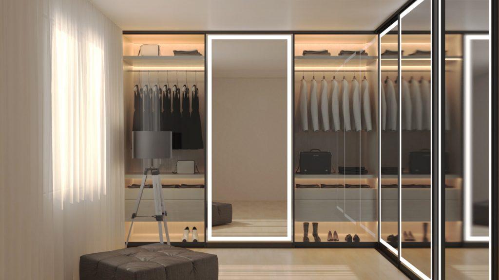 Integrated Light Mirror installed in walk-in closet