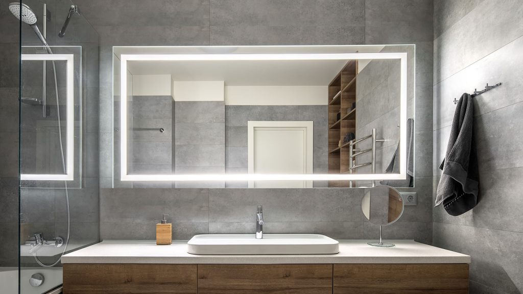 Bathroom with Integrated Light Mirror from Grand Mirrors