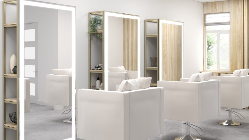 Integrated Light Mirrors installed in salon