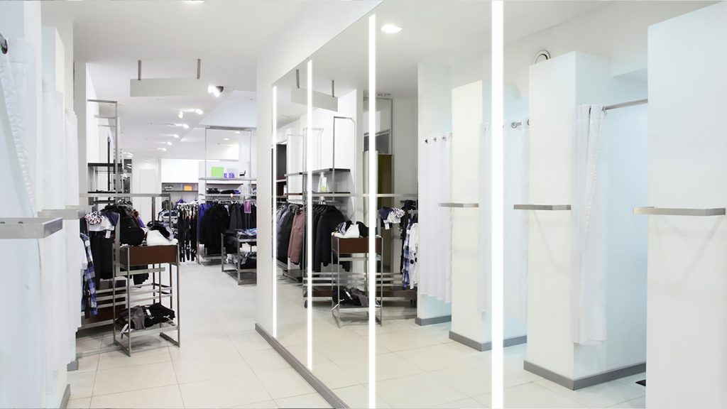 Integrated Light Mirrors intalled in clothing store