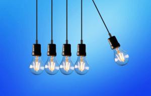5 light bulbs Hanging