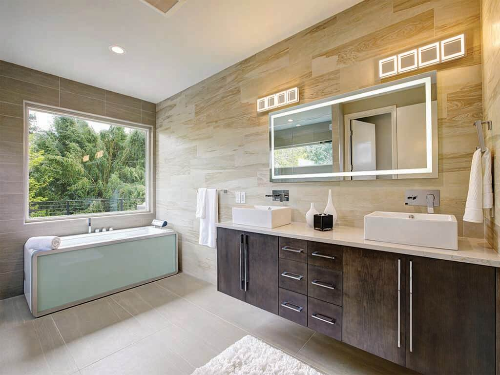 Single Sink Integrated Light Mirror by Grand Mirror in a modern bathroom