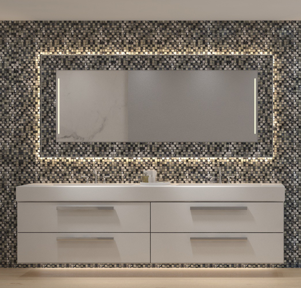 Huge Mosaic Mirrors in Roasted Coffee Tiled Frame placed above a four doors cabinet