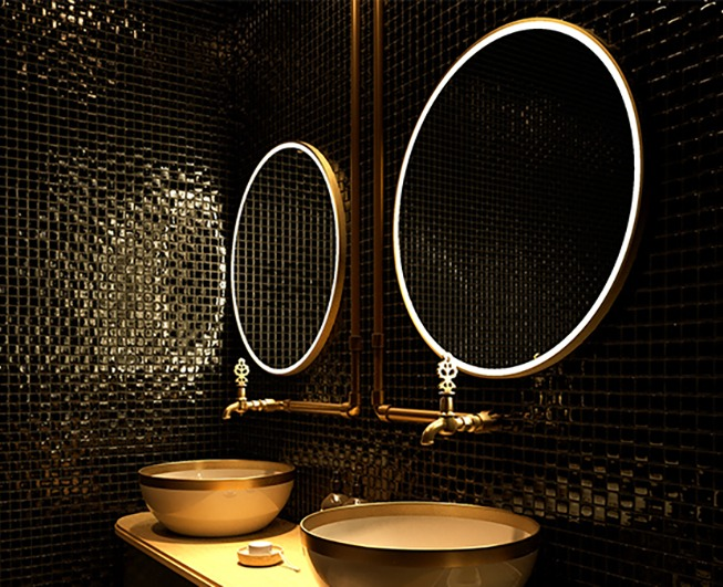 Grand Mirrors ALLURE in round size installed in a bathroom