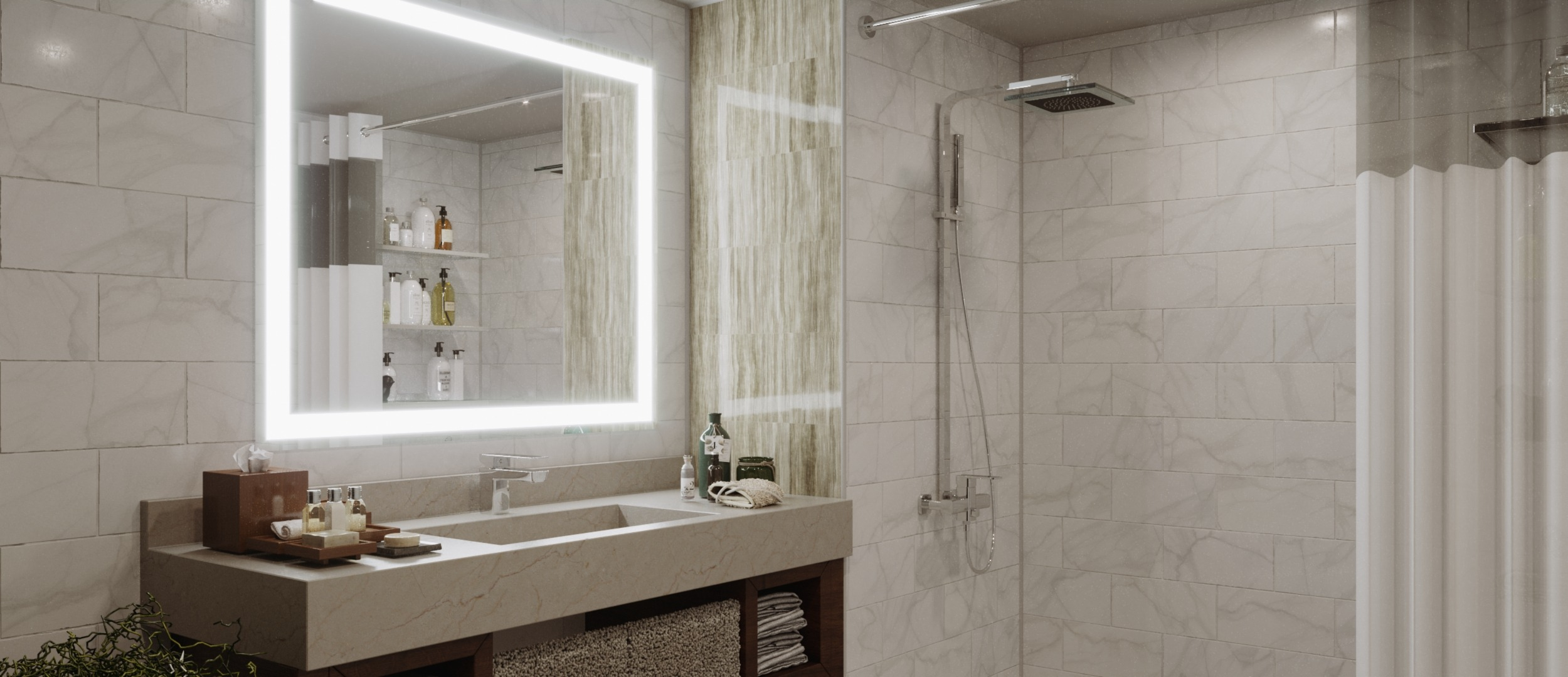 Extra large mirrors with LED light