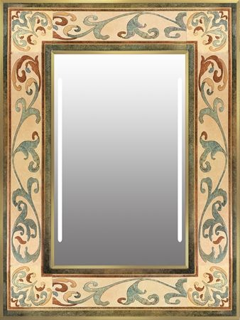 Antiques mirror give the loo a warm glow