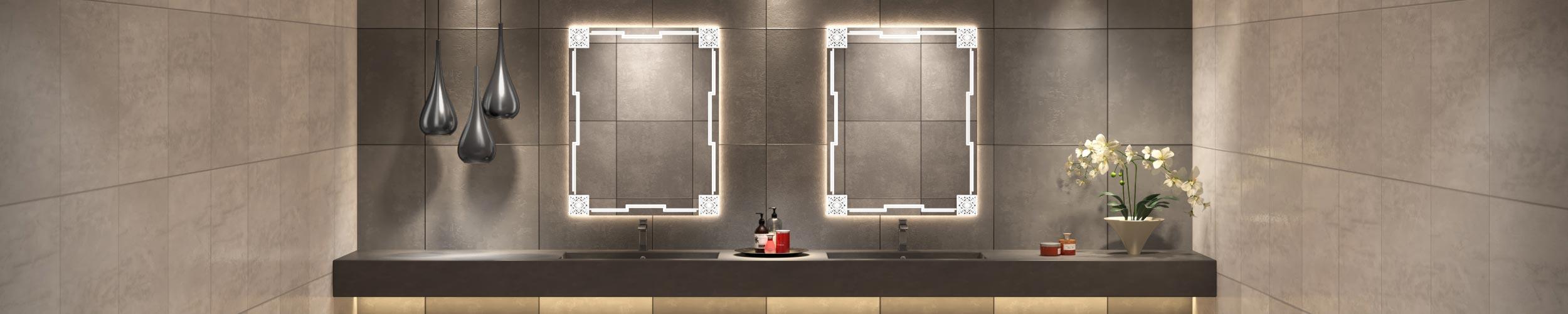 Double Sink Grand Mirrors Etch Mirror in Gatsby Design