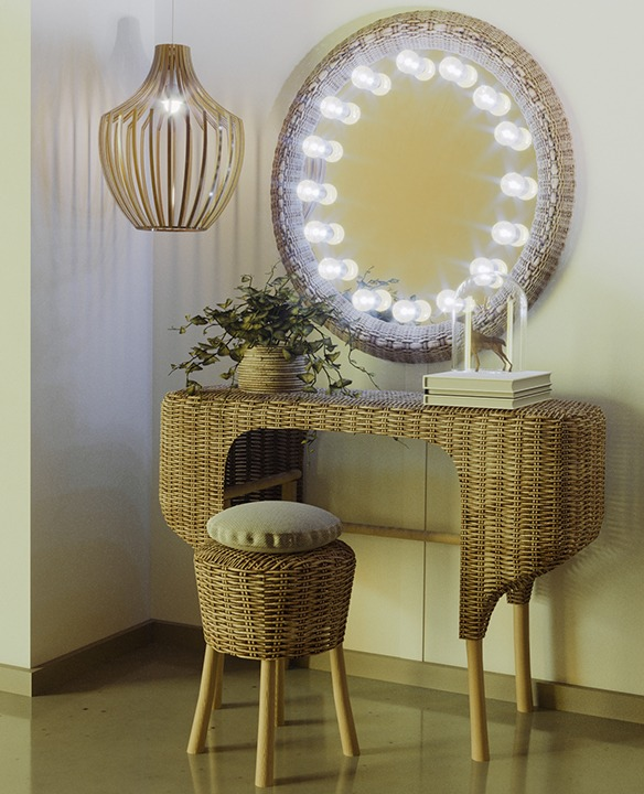 Find nature with rattan mirror