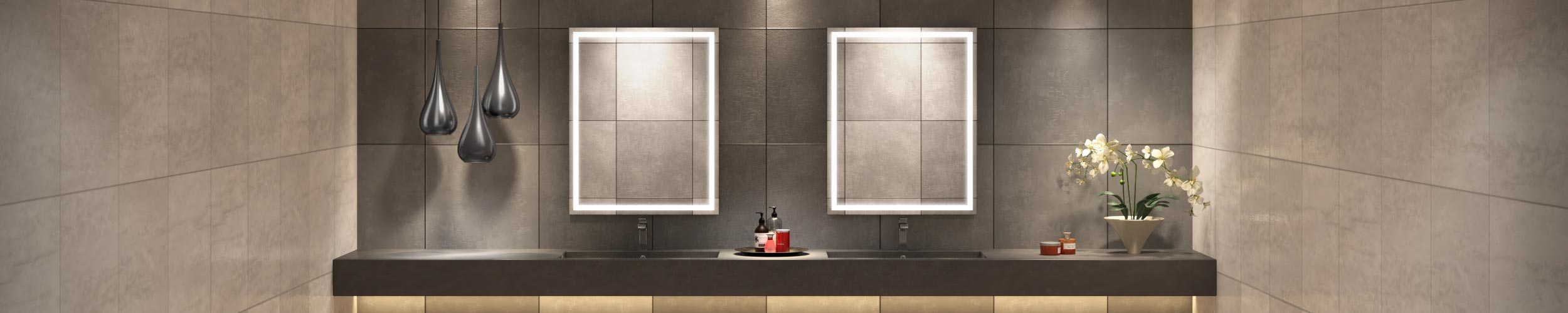 Integrated Light Mirror of Grand Mirrors in Double Sink
