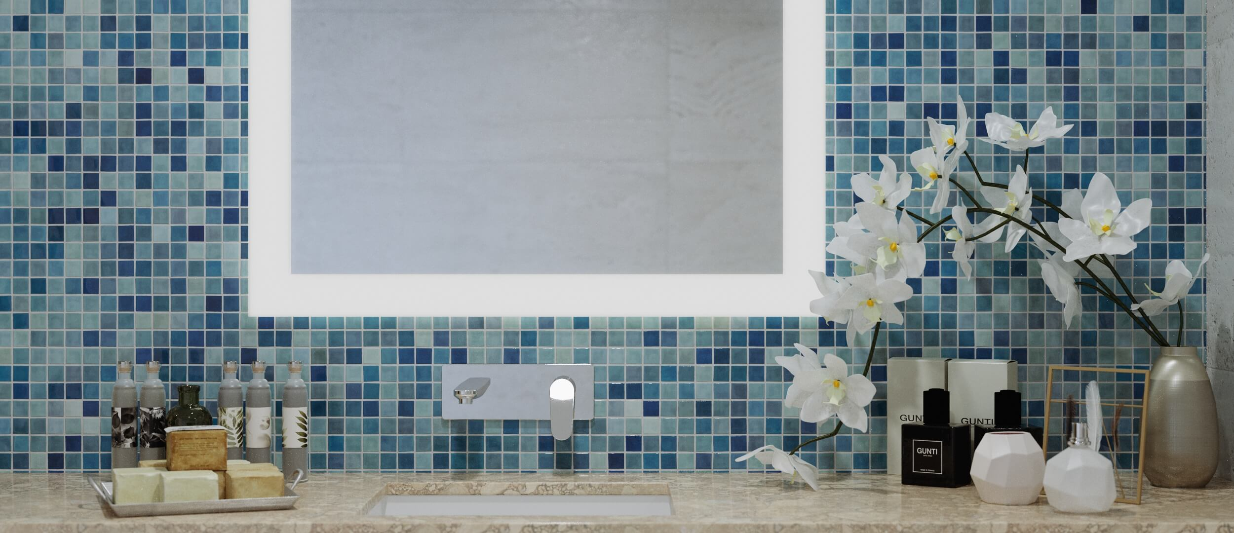Bathroom mirror with LED light in mosaic bathroom
