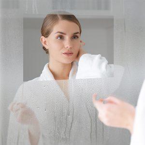 Fog free mirror with a defogger installed.
