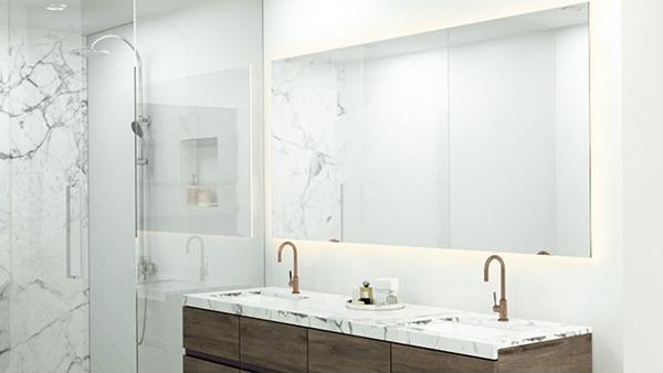 Feather light bathroom mirror