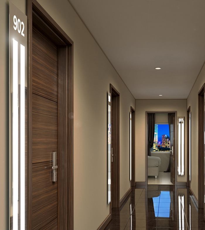 Lighted mirrors look great in the hallway