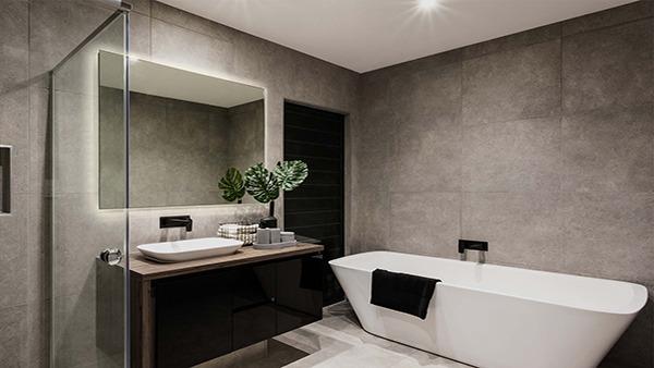 Elegantly mirror and a tub
