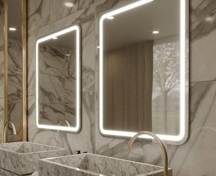 Custom built mirror for the bathroom