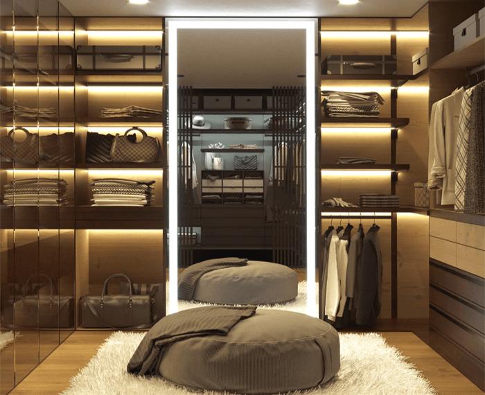 Mirror in a walk in closet