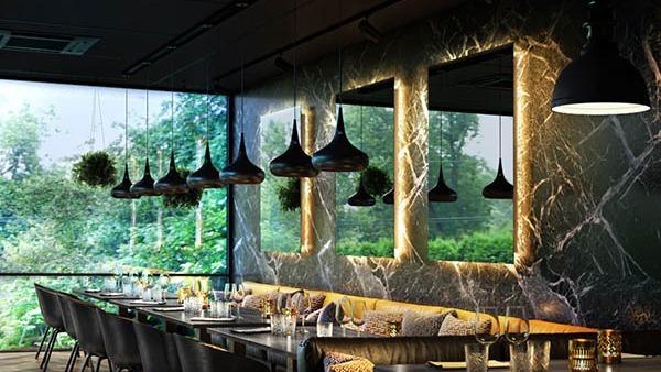 Cozy mirror dining experience