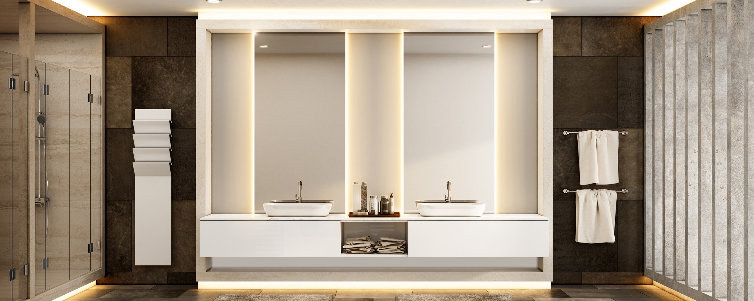 Double Sink Backlit Mirror by Grand Mirrors in a Spa Bathroom